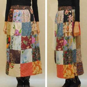 フリーサイズ【アメリカ製古着】1960年代ヴィンテージ◆ポップ 小花 バティックのミックスパッチワーク◆ロング丈巻きスカート【中古】◆|cool-klothes