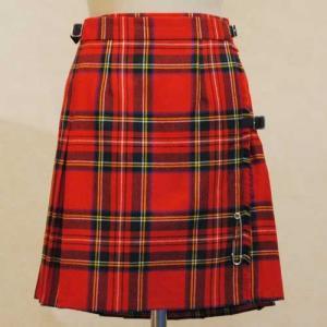 S〜Mサイズ【スコットランド製古着】ヴィンテージ◆タータンチェック◆ピュアニューウール◆ひざ上丈プリーツ巻きスカート【中古】|cool-klothes