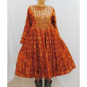 S〜Lサイズ【インド製古着】インド民族衣装ヴィンテージ◆シルク◆絞り染めに金のパッチ◆ロングワンピース【中古】|cool-klothes