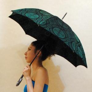 56サイズ【オリジナル商品】グリーンに黒のゴシック織◆日傘|cool-klothes