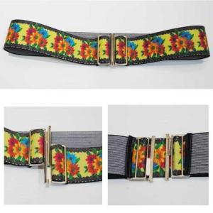 フリーサイズ【セレクト商品】皮革に刺繍のように見えるプリントの太幅ゴムベルト|cool-klothes