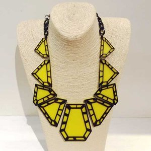 【オリジナルセレクト商品】個性派◆イエロー×ブラックのダイヤカットネックレス|cool-klothes