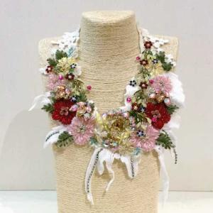 【オリジナルセレクト商品】つけ衿風◆豪華刺繍 キラキラビジュー◆ネックレス|cool-klothes
