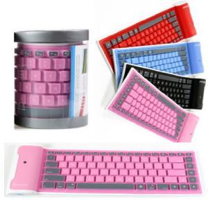 折り畳み式 曲がる bluetooth(ブルートゥース)キーボード 防水 無線 小型 ピンク(桃)