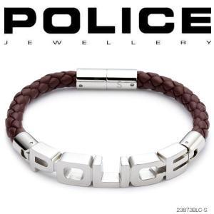 ポリス POLICE ブレスレット SIGNATURE レザー&ステンレス 23873BLC-S (BR)|coolbikers
