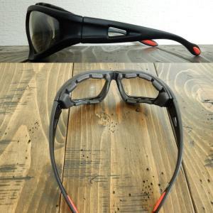サングラス バイク/自転車 花粉症対策 風防パット付 6801 ブラック/クリアミラー|coolbikers|03