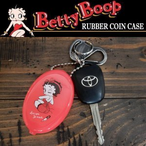 BETTY BOOP ベティ・ブープ RUBBER COIN CASE ラバーコインケース キーチェーン 小銭入れ ピンク coolbikers