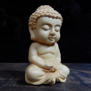 木彫 ツゲ(柘植)如来 仏教の開祖 釈迦 木製彫刻 仏像 お守り 家内安全 風水 坐像(ざぞう)仏様 置物 大仏さん