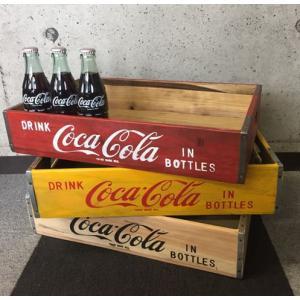 コカ・コーラ Coca-Cola WOOD CRATE エイジング(アンティーク)加工 ボックス ケース 木箱 レッド/イエロー/ナチュラル|coolbikers