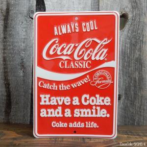 コカ・コーラ サインボード エンボス 立体 ティンサインボード コークロゴ TIN SIGNS COKE LOGO|coolbikers