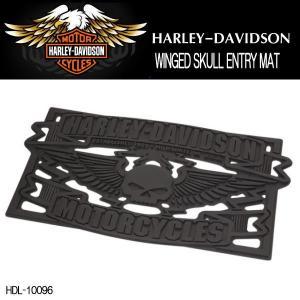 ハーレーダビッドソン HARLEY-DAVIDSON スカル WINGED SKULL ENTRY MAT エントリーマット 玄関マット HDL-10096|coolbikers