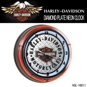 ハーレーダビッドソン HARLEY-DAVIDSON DIAMOND PLATE NEON CLOCK ダブルネオンクロック HDL-16611|coolbikers