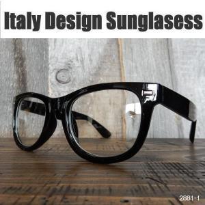 サングラス 黒縁メガネ 伊達めがね Italy Design イタリーデザイン ウェリントン 2881-1|coolbikers