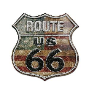 サインボード アルミニウムSign RT.66 GSH6UA US FLAG ROUTE66 (No12)|coolbikers