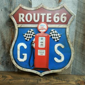 3D 立体 ブリキ 看板 ルート66 サインボード ROUTE66 ビンテージ エンボス ビンテージ加工 Signboard ガソリンスタンド|coolbikers