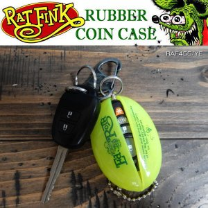 Rat Fink ラットフィンク RUBBER COIN CASE ラバーコインケース キーチェーン 小銭入れ RAF455-YE|coolbikers