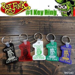 Rat Fink ラットフィンク #1 Key Ring ナンバーワン キーリング ラバー製 RKF040 coolbikers
