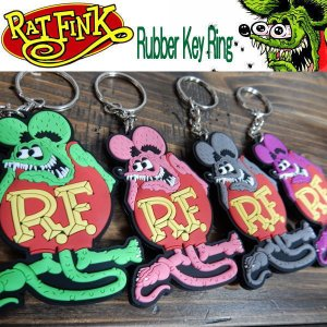 Rat Fink ラットフィンク ソフトラバー キーホルダー Rubber Key Ring 4カラー RKF051|coolbikers