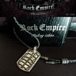 ROCK EMPIRE ロックエンパイア ペンダント ネックレス レザー シルバー925 RE-1005|coolbikers