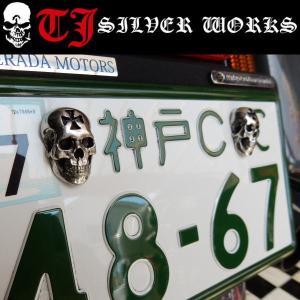 頭蓋骨 SKULL BOLT SET ライセンス ボルト License Bolts スカル2個セット TJ シルバーワークス|coolbikers