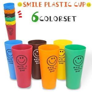 SMILE COLORFULL CUP (ビビットカラー) スマイル カラフルプラスチックカップ 6個セット|coolbikers