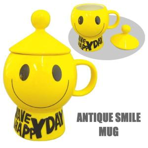 アンティーク スマイル ANTIQUE SMILE マグ 陶器 インテリア フタ付きマグ Mug|coolbikers