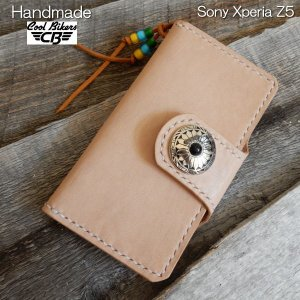 【Sony Xperia Z5】スマホケース 本革 ハンドメイド ストラップ レザー コンチョ ストラップ付き COOLBIKERS クールバイカーズ|coolbikers