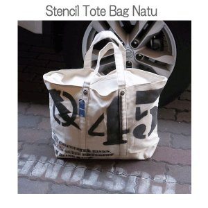 Stencil Tote Bag ステンシル トートバッグ エコバッグ キャンバス生地 NATU|coolbikers