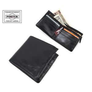 背面にファスナー開閉の小銭入れが取り付けられ、デザイン上のインパクトにもなっている2つ折り財布。小銭...