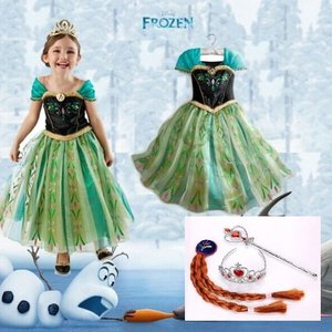 アナと雪の女王 アナ風ドレス ウィッグ ティアラ スティック 豪華4点セット!クリスマス ハロウィン|coollife