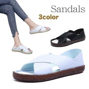 シンプル サンダル レディス ペタンコ 痛くない 歩きやすい 細身 厚底 |coollife