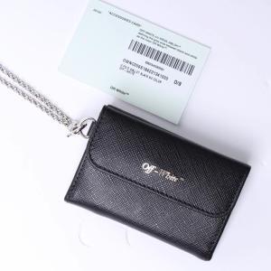 2147f36c6d8d オフホワイト 三つ折りミニ財布(Off-White)ブラック ロゴ [全国送料無料!]r013098