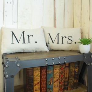 クッション カップルクッション Mr.Mrs.クッション 2個セット ミスターミセスクッション ミニクッション ウェルカムボード 結婚式 高砂|coolzon