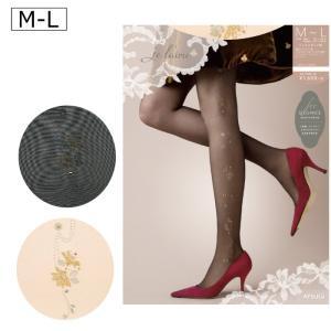 ストッキング パンスト ワンポイント 花 柄 フラワー Je l'aime ジュレーム M-L 日本製 ゆうパケット25%|copo-socks