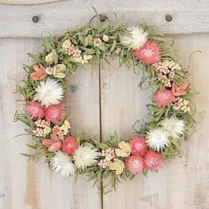 ドライフラワー リース かわいいピンクの草原で見つけた妖精の花冠Coquelicot 花 玄関 春 インテリア 壁掛けに