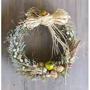 ドライフラワー リース 麦と青リンゴの大きなリース 花 玄関 春 インテリア 壁掛け ギフト プレゼント
