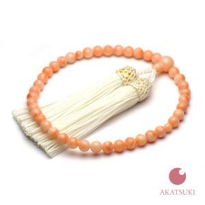 ピンク珊瑚 片手数珠 正絹房 6.3mm丸玉  数珠袋付き  三月 誕生石