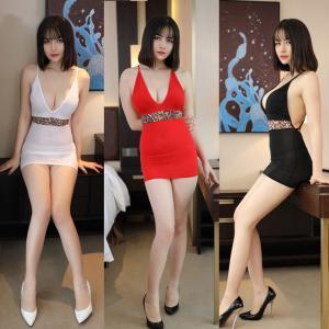 超セクシー V字 シースルー 超ミニ ワンピース ワンポイントコスプレ衣装 キャバ嬢 可愛い タイト ミニスカート(WH/BK/RD)   co-568|corebrain