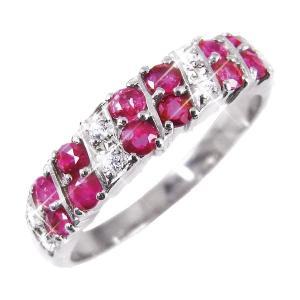 卓抜 大人気ルビー 公式 ダイヤリング 指輪 ダブルエタニティーリング 15号