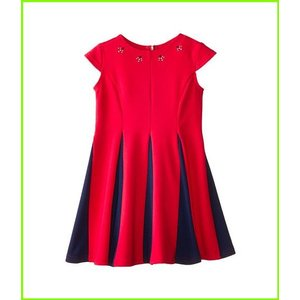 <title>Us Angels Ponte Cap Sleeve Fit amp; Flair w Contrast Pleat Toddler Dresses WOMEN 出荷 レディース Berry</title>