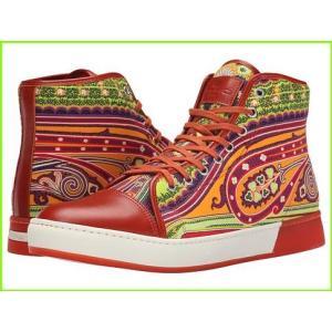 税込 Etro Paisley Leather Toe ブランド品 Hi-Top Sneakers Athletic Shoes MEN amp; Orange メンズ