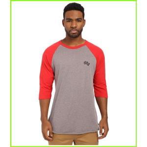 <title>Obey Oranje Script Raglan Top オベイ T Shirts MEN メンズ Heather Charcoal 高品質 Red</title>