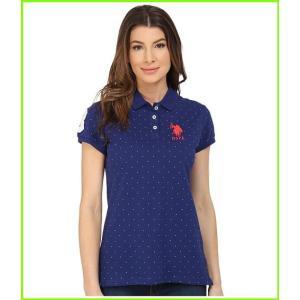 <title>U.S. POLO ASSN. Stretch Pique Dot Print Polo Shirt Polos ファクトリーアウトレット WOMEN レディース Blue Depths</title>