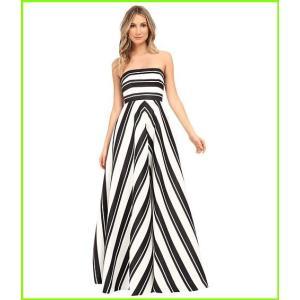 Halston 別倉庫からの配送 Heritage Strapless Placement Print Structured Gown Variegated Black WOMEN レディース 全店販売中 Dresses Stripe Eggshell