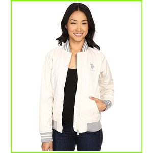 U.S. POLO ASSN. Solid Jacket with Stripe 本日の目玉 Collar Outerwear 在庫処分 White WOMEN amp; レディース Coats Snow
