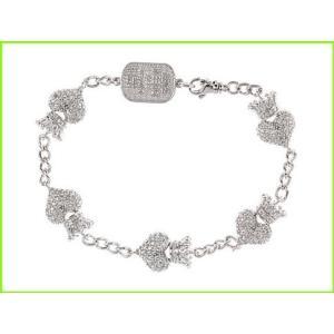 King Baby Studio CZ 価格 交渉 送料無料 Pav? Crowned 現金特価 Heart Motif レディース WOMEN Sterling Bracelet Bracelets Silver Charm