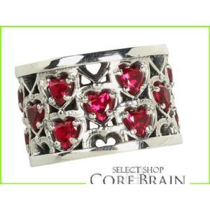 King Baby Studio Heart Patterned Ring with Silver Sterling Rings レディース WOMEN Stones 評判 スピード対応 全国送料無料 Garnet