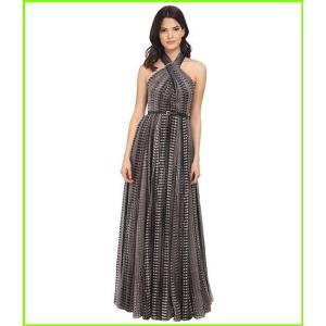 Halston 超安い Heritage Sleeveless Cross Neck Printed Gown w Hardware Pixels レディース Fading 超激得SALE Black at Dresses WOMEN Allover Print