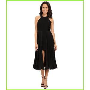 Halston Heritage Sleeveless Round Neck Crepe Dress with WOMEN Pleated 日本正規代理店品 国産品 Dresses レディース Black Skirt Insert