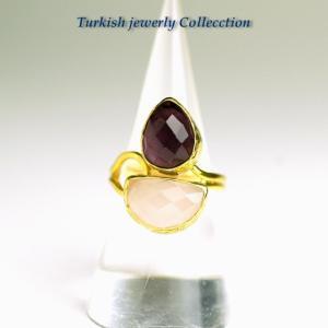 【売り尽くし半額セール】ターキッシュ2ストーン1 ローズクォーツ&アメジズト 指輪フリーサイズ 癒し パワーストーン 天然石 2月誕生石|cornucopia